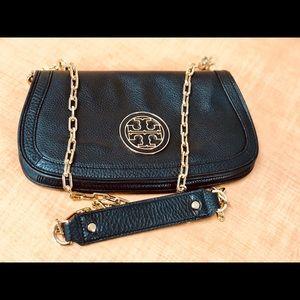 Authentic Used Tory Burch Black Crossbody Flap Bag